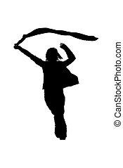 femme, vecteur, silhouette
