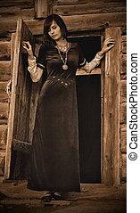 femme, velours, cheveux, noir, jeune, sépia, porte, petite maison, debout, version, historique, sombre, bûche, vendange, forêt, robe, beau