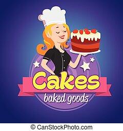 femme, vendange, casquette, cuisinier, sourire, logo., cake.