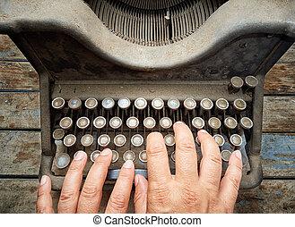 femme, vendange, dactylographie, poussière, topview, machine écrire