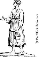 femme, vendange, Gaulois, gravure