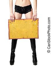 femme, vendange, isolé, jaune, board., sexy