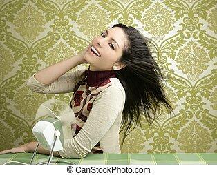 femme, vendange, papier peint, air, années soixante, ventilateur, retro