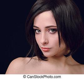 femme, vendange, sombre, looking., closeup, fond, portrait, sexy