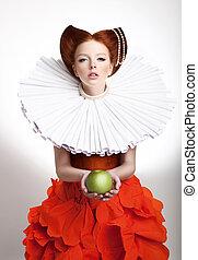 femme, vendange, volant, duchess, retro, appelé, roux, portrait, style.