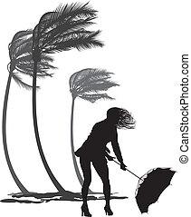 femme, vent, paumes, arbres