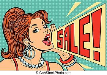 femme, vente, annoncer