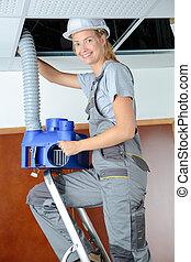 femme, ventilation, technicien