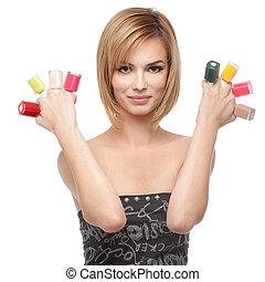 femme, vernis à ongles, jeune, huit, bouteilles, projection