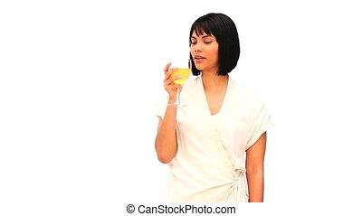 femme, verre, asiatique, joli, blanc, apprécier, vin