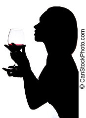 femme, verre vin, tenue