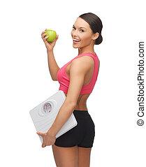 femme, vert, sportif, pomme, échelle