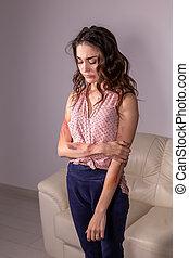femme, victime, conjugal, sur, violence, -, gris, abus, fond, questions
