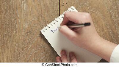 femme, vide, bloc-notes, écrit, choses, adolescent