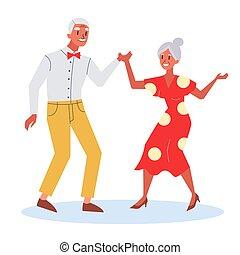 femme, vieil homme, couple heureux, dance., vieilli, senoir