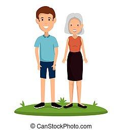 femme, vieux, avatars, jeune, caractères, homme