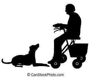 femme, vieux chien