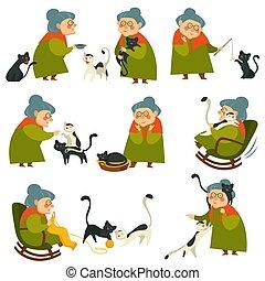 femme, vieux, chouchou, personnes agées, chat, ensemble, dame, jouer