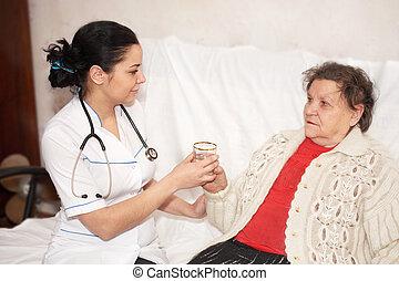 femme, vieux, docteur