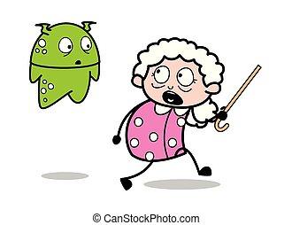 femme, vieux, effrayé, -, illustration, étranger, vecteur, grand-maman, dame, dessin animé