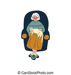 femme, vieux, elle, séance, fauteuil, chat, illustration, vecteur, personnes agées, animal, activité, personne agee, chouchou, dame, quotidiennement