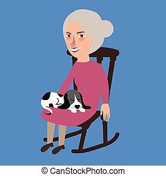 femme, vieux, elle, séance, recouvrement, chat, personne agee, dormir, dame, chaise