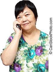femme, vieux, elle, téléphone portable, internet, utilisation, personne agee