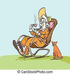 femme, vieux, elle, thé, chat, chair., balancer, granny., boissons