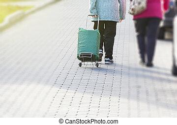 femme, vieux, fatigué, âge, non, -, grand-mère, sac, joy., behind., vu