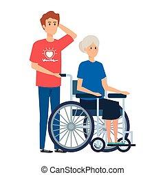 femme, vieux, fauteuil roulant, jeune homme, volontaire