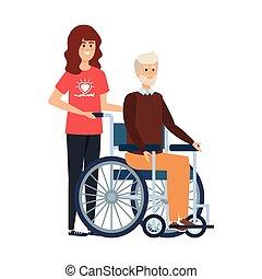 femme, vieux, fauteuil roulant, jeune, volontaire, homme