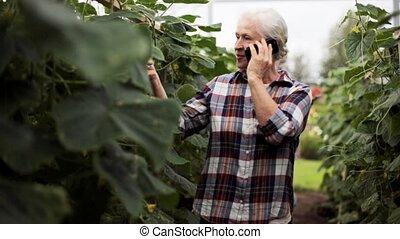 femme, vieux, ferme, appeler, smartphone, serre
