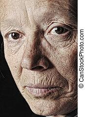 femme, vieux, figure