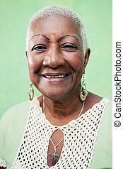 femme, vieux, fond, élégant, noir, portrait, vert, sourire, dame, vêtements
