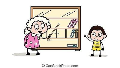 femme, vieux, -, illustration, conversation, vecteur, grand-maman, dame, dessin animé, gosse