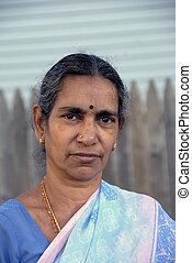 femme, vieux, indien