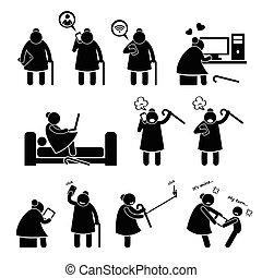 femme, vieux, informatique, utilisation, personnes agées
