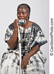 femme, vieux, invalide, africaine