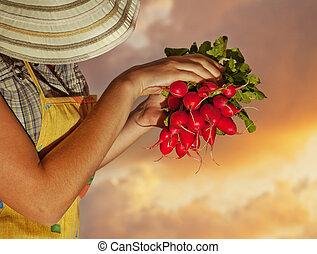 femme, vieux, jardinier, heureux