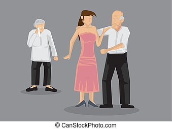 femme, vieux, jeune, illustration, vecteur, dater, dessin animé, homme