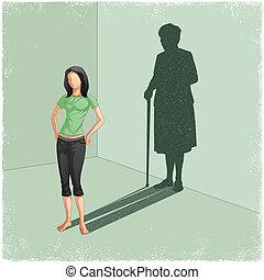 femme, vieux, jeune, ombre bâti, dame
