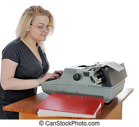 femme, vieux, machine écrire