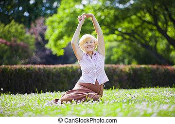 femme, vieux, mental, exercisme, air, optimiste, wellness.,...