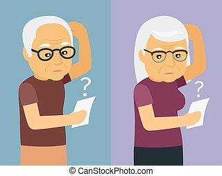 femme, vieux, pensée, illustration, vecteur, homme