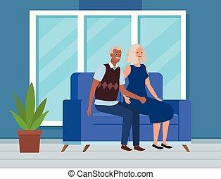 femme, vieux, séance, sofa, couple, homme