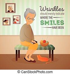 femme, vieux, salle, séance, sofa, illustration, chat, vecteur, tricot, tools.