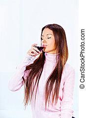 femme, vin