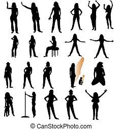 femme, vingt, sur, une, silhouettes, fond, blanc