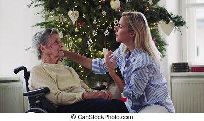 femme, visiteur, cheveux, time., santé, peigner, maison, personne agee, noël