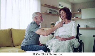 femme, visiteur, maison, santé, fauteuil roulant, visit.,...